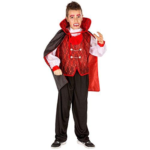 TecTake dressforfun Aufwendiges GRAF Dracula Jungenkostüm inkl. Hemd mit aufgenähter Fliege, Hose & Umhang (8-10 Jahre | Nr. 300154)