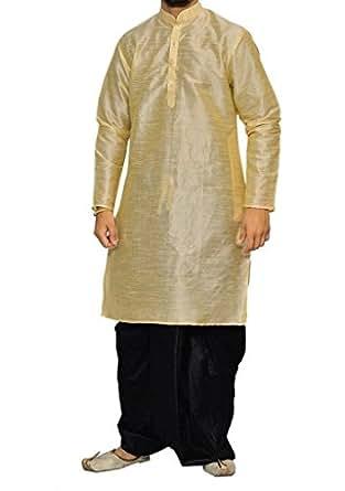 Royal Men's Festive Art Silk Blend Dhoti Kurta Set_Golden