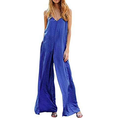 Bluester Women V-Neck Sexy Bandage Playsuit, Solid Sleeveless Beach Rompers/ Jumpsuit (M, Blue)