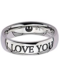 Star Wars I Love You anillo de acero inoxidable