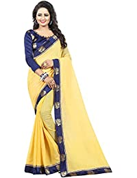 Vastrang Women's Chanderi Cotton Saree With Blouse Piece(1313PCKYLW_Light Yellow_Free Size)