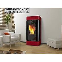 Estufa DE Pellet Modelo Eco O5 11 KW Color Blanco Y Burdeos