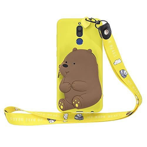 Miagon Silikon Hülle für Huawei Mate 10 Lite,3D Süß Brieftasche Lager Tasche Design mit Halskette Kordel Schnur Handykette Necklace Band,Gelb Bär