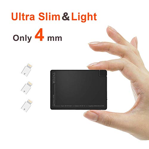 TNTOR 2500mAh Ladegerät, Ultra dünn 4mm Mini Power Bank mit Adapter für Android iPhone Bluetooth Kopfhörer Airpods