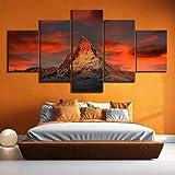 Wohnkultur Leinwandbild 5 Tafel Schweiz Zermatt Matterhorn