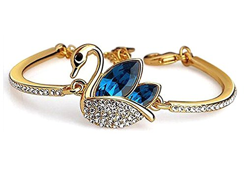 Crunchy Fashion Jewellery Gold Plated Stylish Daily/Party Wear Crystal Studded Swan Kada/Cuff Bracelet for Women/Girls  available at amazon for Rs.299