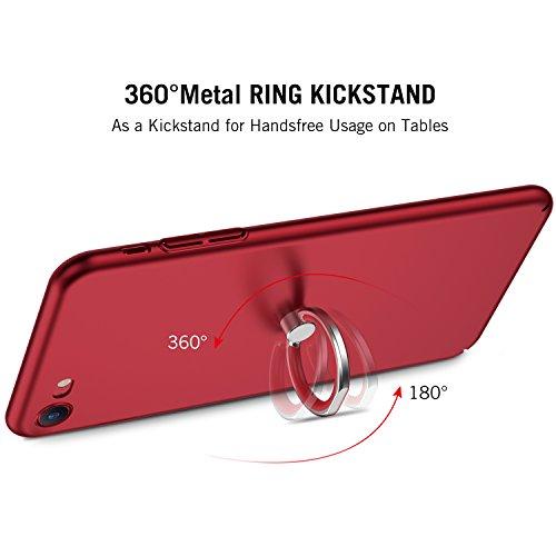 iPhone 7 Hülle mit Ring Ständer, RANVOO Extra Dünn Hard Ultra Slim Case aus Plastik Material Anti-Kratzer Anti-Fingerabdruck Leicht Schale Voller Schutz für iPhone 7 Black [TOUGH005] Rot+Ring