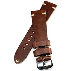 Correa de piel con costuras en blanco 22 mm aspecto retro tira de calidad marrón BS calidad máxima