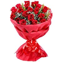 Floral Fantasy Fresh Flowers Bouquet Arrangement - 20 Red Roses in Paper Packing