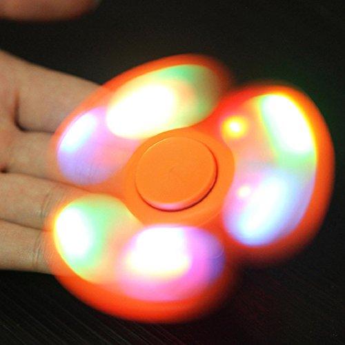 Preisvergleich Produktbild Hand Spinner LED Licht Fidget Finger Spinner Finger Spinner Spielzeug EDC Focus Gyro Geschenk für Kinder Freunde (Orange)
