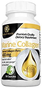 Marine Collagen by ProNutriWorld- 90 Capsules- 400 mg- 100% Natural Product- High Strength Skin Care for Men and Women- Muscle Retention- Absolute Beauty Elixir