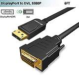 Cable DisplayPort vers DVI,Adaptateur Display Port vers DVI Câble 1,8m,Mâle DP in to DVI Adapter Cordon,1080P@60Hz Video Prise pour Lenovo,HP,Dell,Asus Laptop,PC,Desktop vers Moniteur,TV,Projecteur.