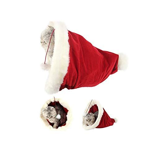 ODJOY-FAN Weihnachtsmütze Haustier Nest/Katzenbetten Zwinger Kleintierbetten Haustier Hüte Weihnachten Mützen 19,69 x 12,99 x 7,87 Zoll(Rot,1 PC)
