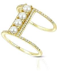Anillo Seed Pearl doble barra con acentos de diamantes 14k oro amarillo (0.19ct), anillo de compromiso de oro amarillo…