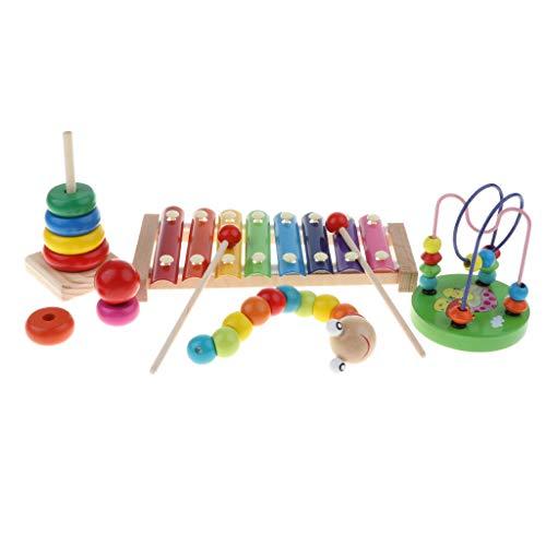 Fenteer 4X Holzspielzeug Stapeln Spielzeug Musikspiel Raupe Spielzeug Perlenspiel, Geschenk für Kinder