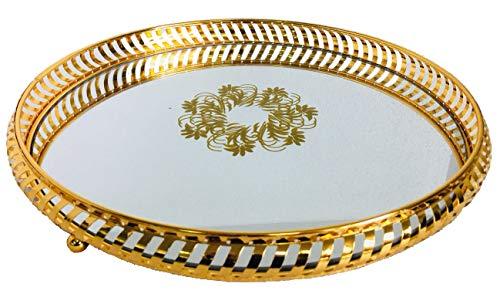 Bo Time - Bandeja redonda de acero dorado con fondo de espejo de estilo oriental