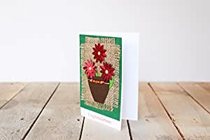 Handmade Blooming Red Flowers Congratulations Card