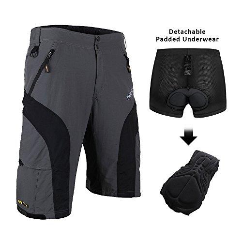 Santic Mens Baggy Cycling Shorts MTB Half Pants Zipper Pockets Breathable Casual