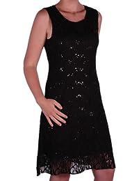 EyeCatch in Übergrößen - Fabia Frauen ärmellose Floral Stretch Pailletten Lace kurzes mini Abend Kleid Plus Size