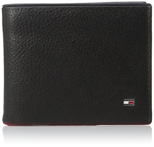 tommy-hilfiger-mens-leather-raymond-passcase-bifold-wallet-with-red-trim-black