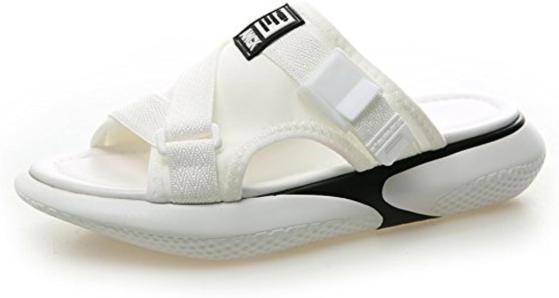 JIANXIN Sandalias Y Zapatillas De Fondo Plano De Las Mujeres De Moda De Verano Tendencia De La Moda Zapatos De Playa Salvaje Mujeres Zapatillas De Tacón Plano De Las Mujeres EU 38/US 7/UK 4.5