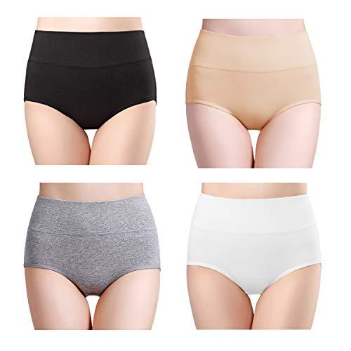 wirarpa Damen Unterhosen 4er Pack Panties Slips Damen Unterwäsche mit Hoher Taille Ultra Weich Taillenslip Größe XL - Weg Slip
