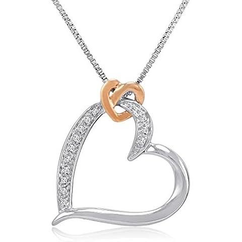 Plata de ley y oro 14K y diamantes collar con colgante de corazón en una caja de 18pulgadas Cadena