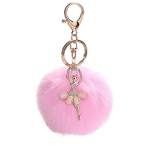 Nette Tanzen Engel Plüsch Ball Schlüsselanhänger Weich Lonshell Keychain Anhänger Handtasche Geldbörse schlüsselbund Pompons Anhängeranhänger (Rosa) (Geldbörse Engel)