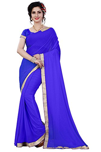 Sarees (IndoPrimo new Collection 2018 sarees for women party wear offer designer sarees for women latest design sarees below 500 saree for women saree for women party wear saree for women in Latest Saree With Designer Blouse Beautiful Saree For Women Party Wear Offer Designer Saree) (Lycra Blue)  available at amazon for Rs.249