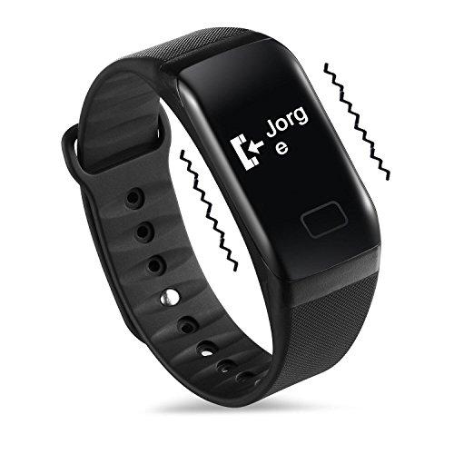 NEWYES Reloj Inteligente Fitness Tracker Monitor de Pulso de Presión Arterial SPO2H Podómetro Gestión del Sueño para Mujeres y Hombres (Black-f1)