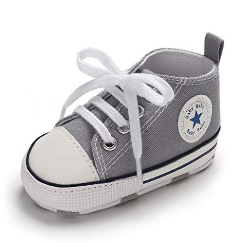 Auxma Babyschuhe Baby Schuhe Sneakers aus Leinwand mit weichen und rutschfesten Sohle Für 3-6 6-12 12-18 Monat (6-12 Monate, SAA) - Baby Schuhe Jungen Kleidung Und