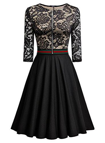 Miusol Elegant Spitzenkleid Abendkleid Reissverschluss vorne Knielang Cocktailkleid - 3