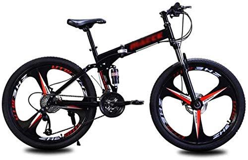Mountainbikes Cityräder Klapp Mountainbike 24 Zoll Speichenräder Sport Outdoor Scheibenbremsen Fahrrad Rennrad (Farbe: Silber Größe: 27 Speed) -24_Speed_Black