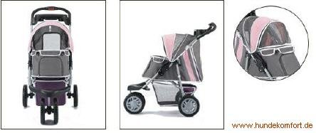 """InnoPet Hundebuggy Hundewagen rosa stabil robust """"First Class"""" – mit einer Hand klappbar - 2"""