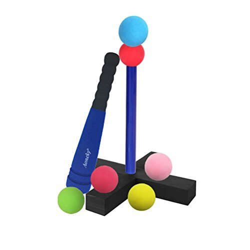 Aoneky Mini Foam Tball Set Für Kleinkinder - Bestes Baseball-T-Ball Spielzeug Für Kinder Alter 1 Jahre Alt klein blau