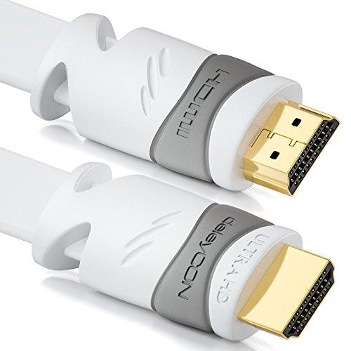 deleyCON 10m Flaches HDMI Kabel - Kompatibel zu HDMI 2.0 bis 1.4 - UHD 4K 3D 1080p 2160p ARC - High Speed mit Ethernet - Weiß Hdmi-hdmi-flachkabel