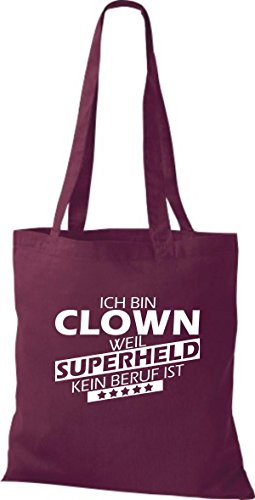 Shirtstown Stoffbeutel Ich bin Clown, weil Superheld kein Beruf ist weinrot