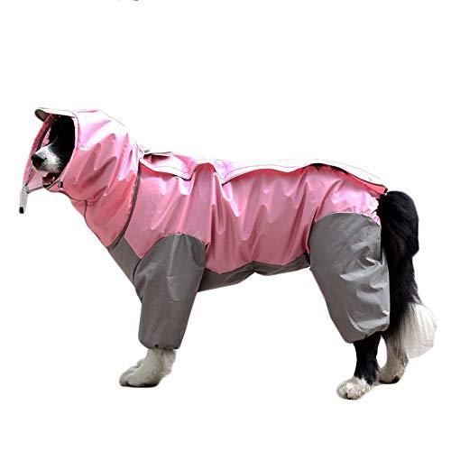 TFENG Hunde Regenmantel mit Abnehmbarem Hoodie, Verstellbarer Outdoor-Tunnelzug Hundemantel, Wasserdichte Hundejacke Regenjacke mit Kapuze und Kragenloch, 10 Größen (Rosa)