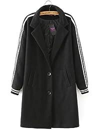 CHENSH Mujeres Chaqueta Escudo Slim Was Rayas Delgadas Impreso Aircraft Woolen Coat,Black-M