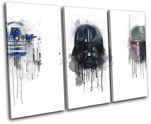 Bold Bloc Design - Star Wars Retro Paint Movie Greats 90x60cm Treble Caja de Lamina de Arte Lienzo Enmarcado Foto del Colgante de Pared - Listo para Colgar - Canvas Print RC-8628(00B)-TR32-LO-B