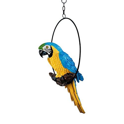Design Toscano Große Polly in Paradise Parrot Skulptur auf Ring Sitzstange, M (Paradise Cover Of Bird)