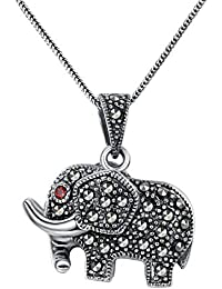 Aoiy - Collar con colgante de las mujeres en plata de ley oxidado, Elefante con Marcasita y Circonita Roja, cadena de 45cm, zgp013he