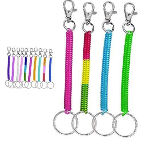 Zonster Beide 4pc Spulen-Schnur-Stretch Tether Keychain Ring - Helle Farben Pearlized -