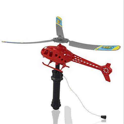 cosyhouse Flying Helicopter Set Spielzeug Easy Fly Griff Zugleine Flugzeug Spielzeug Funny Outdoors Pull String Griff Hubschrauber Spielzeug Stressabbau Kinder Geschenke Spielzeug
