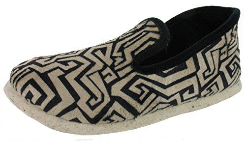 WAPITI'TOO Charentaises Velours semelle feutre, imprimé arabesques chaussons confort pantoufles femme