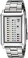 DETOMASO Spacy Timeline 1 Men's Quartz Watch with White Dial Digital Display and Silver Stainless Steel Bracelet G-30723A