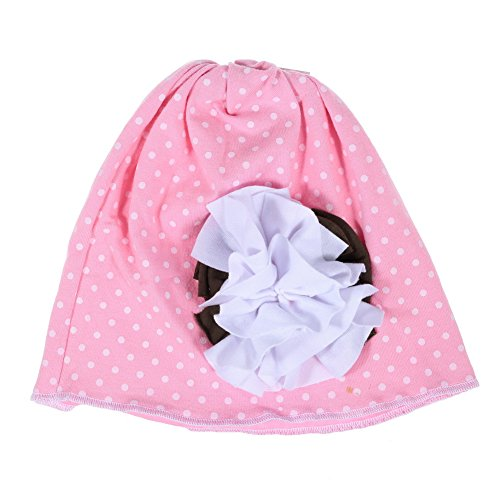 Five Season Bouchon de chapeau de fleur rose avec pois blancs Infant pour bébé Blanc Coton