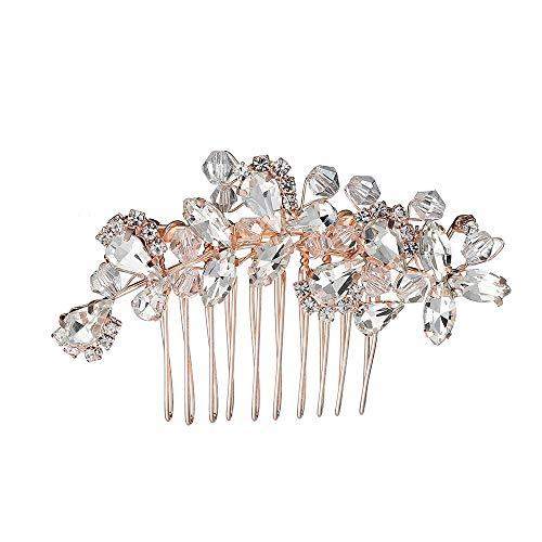 Accessori per capelli da sposa oro rosa con strass per capelli pettini da sposa per donna ragazza sposa e sposa