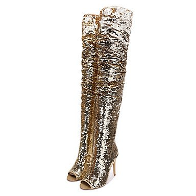 he Paillette Frühling Herbst Mode Stiefel Slouch Stiefel Stiletto Heel Peep Toe Thigh-High Stiefel Pailletten Für Party & Abend, Gold, Us7.5/Eu38/Uk5.5/Cn 38 (Pailletten-stiefeln)
