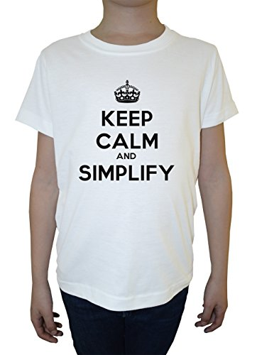 keep-calm-and-simplify-blanco-algodon-nino-ninos-camiseta-manga-corta-cuello-redondo-mangas-white-bo